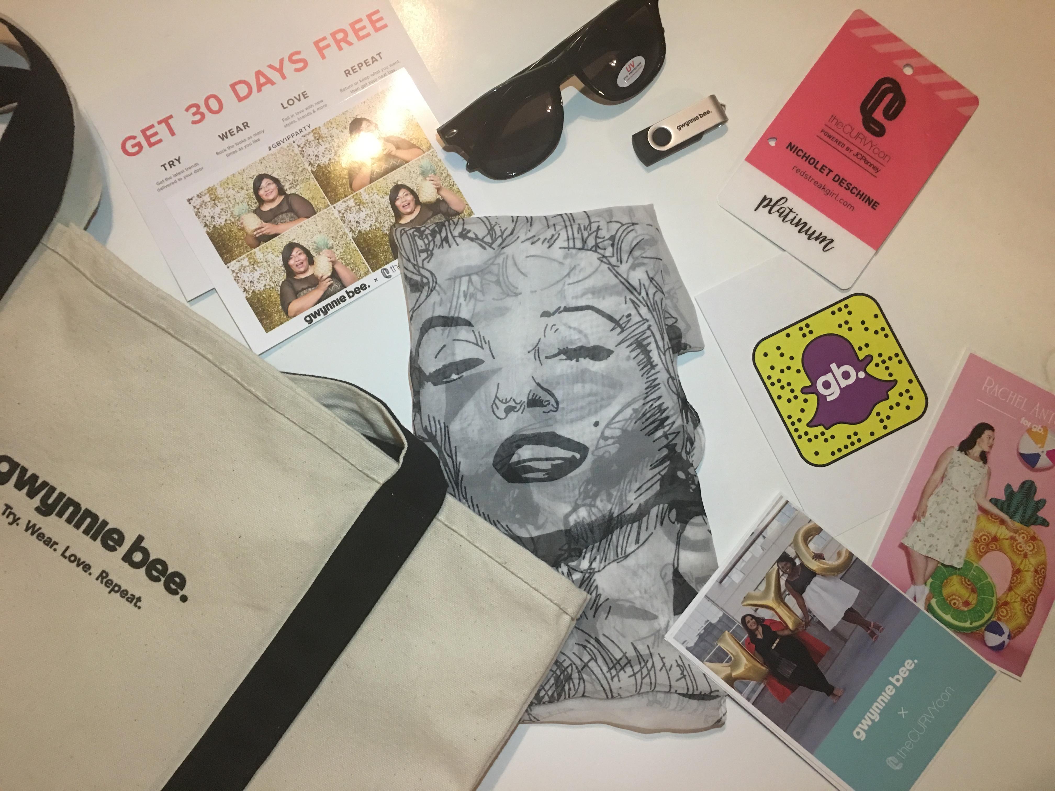 Gwynnie Bee Swag Bag: tote bag, Marilyn Monroe scarf, shades, USB drive, promotional cards