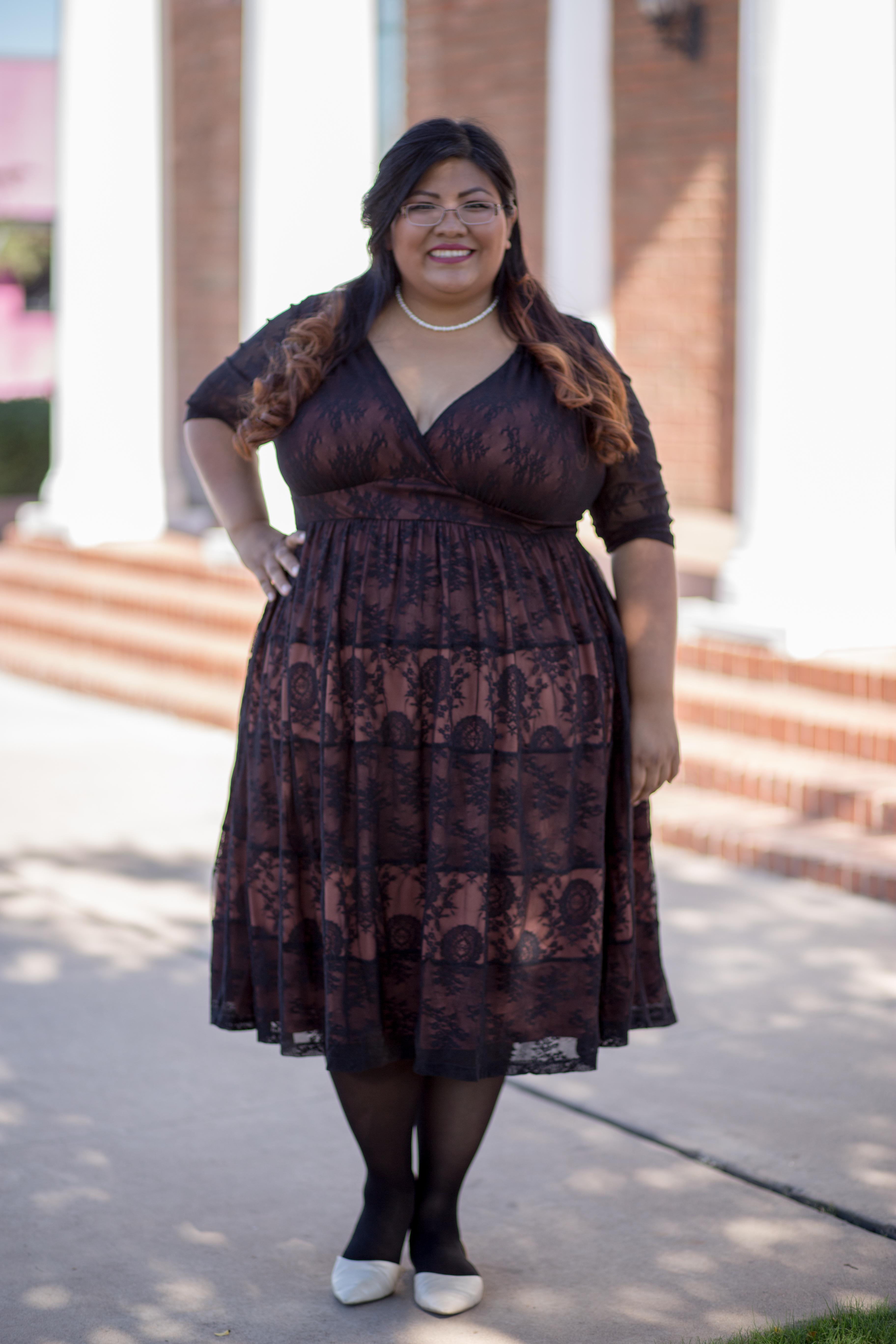 Redstreak Girl wearing Kiyonna Tiers of Joy Dress