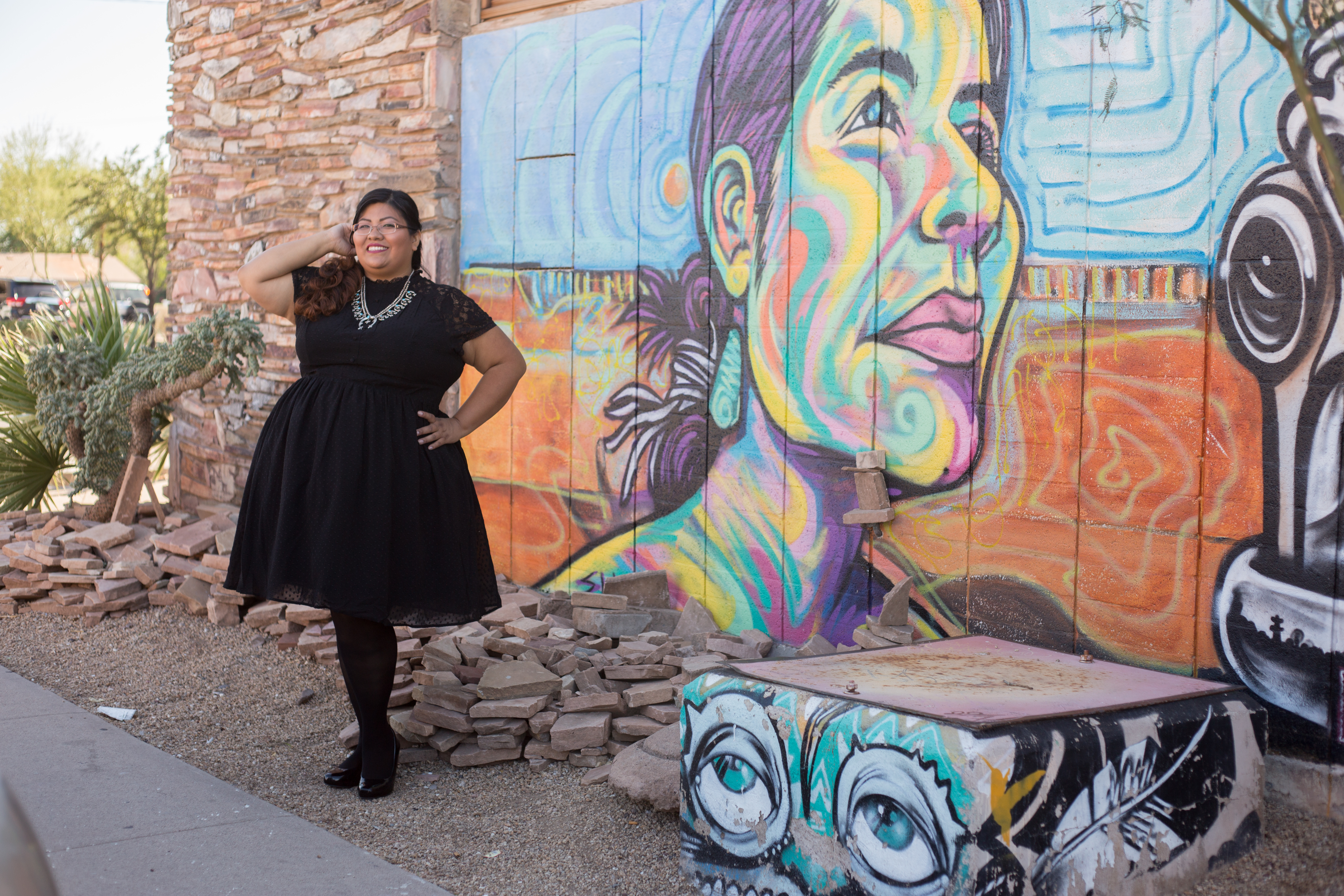 Redstreak Girl wearing Retro Chic Chiffon Swing Dress