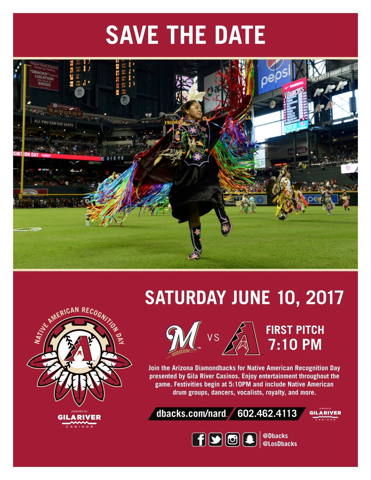 Must attend event in June 2017: Arizona Diamondbacks Native American Recognition Day 2017