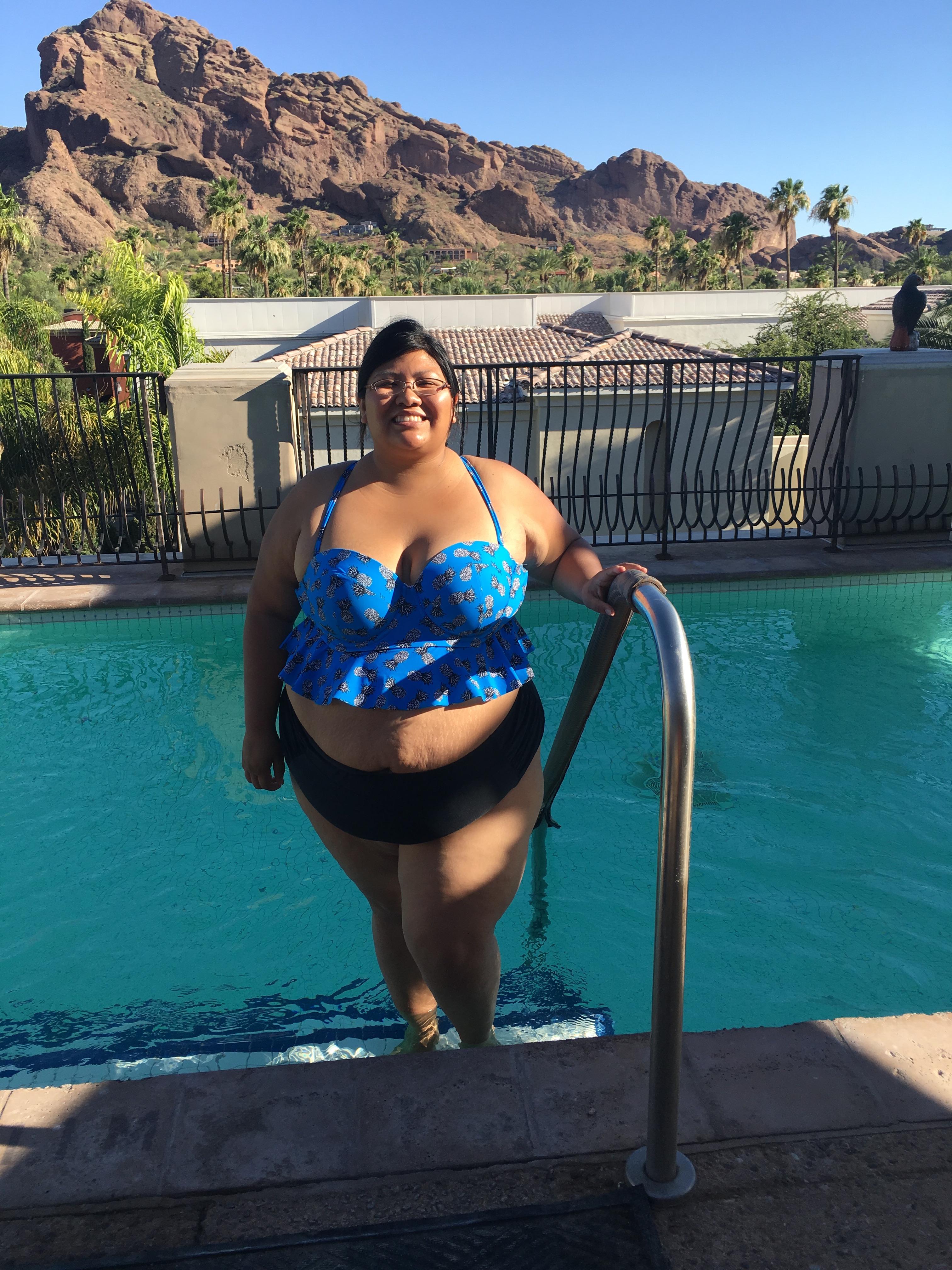 38128c01ec4 JoyaSpa Torridswim. Wearing Torrid s Pineapple Print Flounce Bikini Top ...